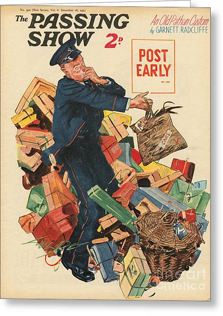 Postman Greeting Cards - 1930s,uk,the Passing Show,magazine Cover Greeting Card by The Advertising Archives