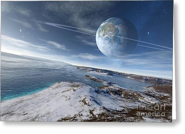 Super Stars Greeting Cards - Alien Landscape, Artwork Greeting Card by Detlev van Ravenswaay