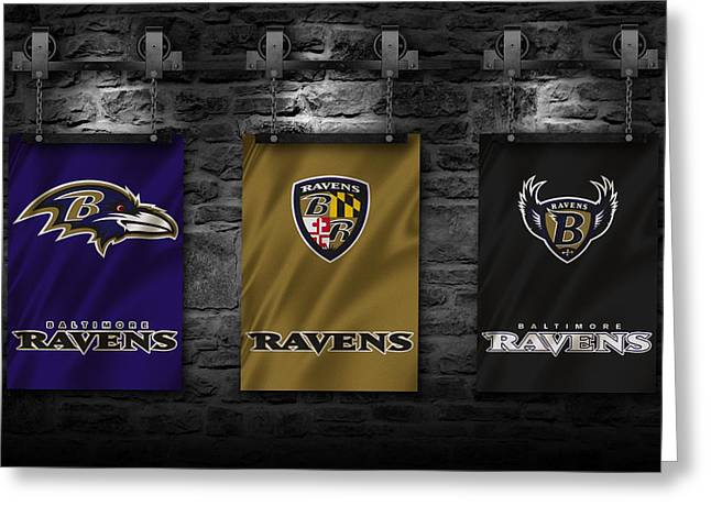 Maryland Flag Greeting Cards - Baltimore Ravens Greeting Card by Joe Hamilton