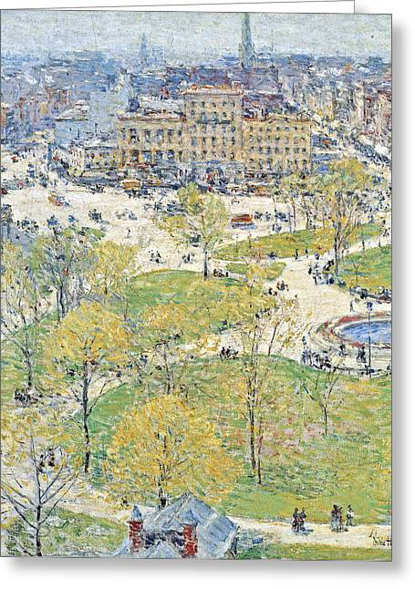Union Square Greeting Cards - Union Square in Spring Greeting Card by Childe Hassam
