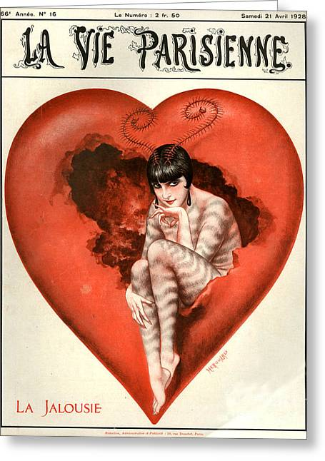 Valentines Day Drawings Greeting Cards - 1920s France La Vie Parisienne Magazine Greeting Card by The Advertising Archives