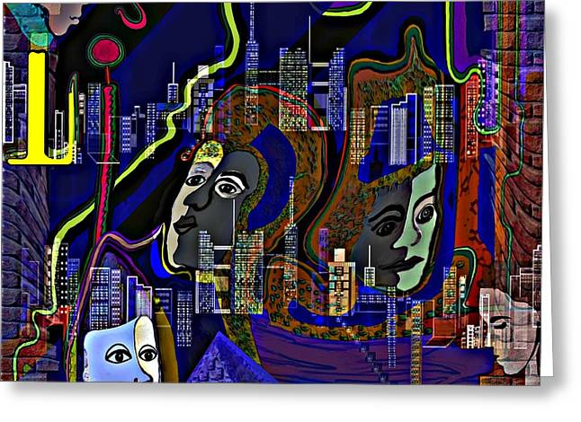 Decorativ Digital Art Greeting Cards - 435 - People in the city   Greeting Card by Irmgard Schoendorf Welch