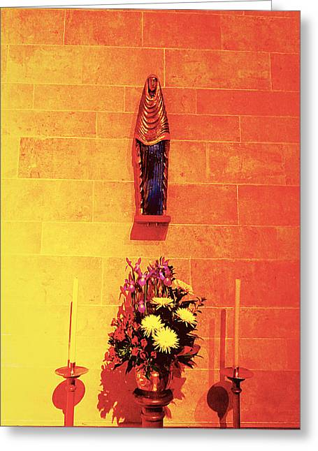 Mother Gift Pyrography Greeting Cards - Church Greeting Card by Girish J