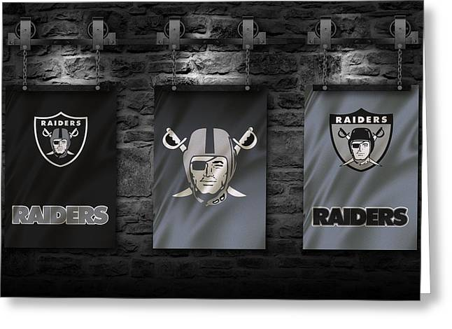 Team Greeting Cards - Oakland Raiders Greeting Card by Joe Hamilton