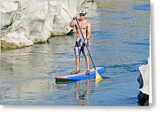 Surf City Greeting Cards - Standup Paddle Board Greeting Card by Elijah Weber