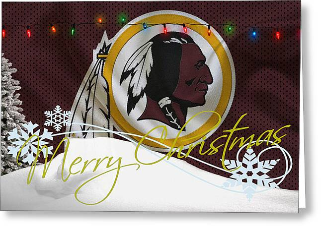 Christmas Greeting Photographs Greeting Cards - Washington Redskins Greeting Card by Joe Hamilton