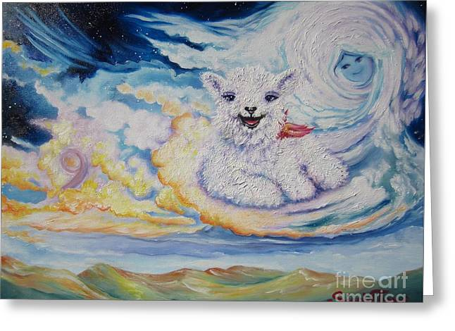 Angels Numbers Greeting Cards - 442  Chloe on Cloud 9 Greeting Card by Sigrid Tune