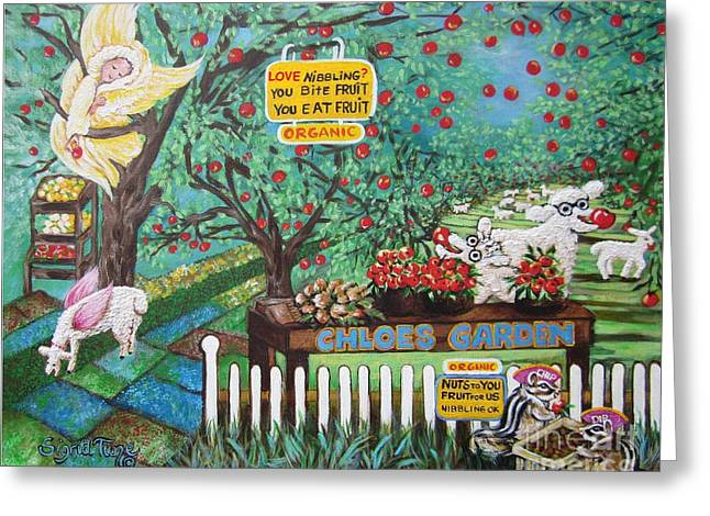 Fruit Tree Art Greeting Cards - 446 Chloes Organic garden Greeting Card by Sigrid Tune