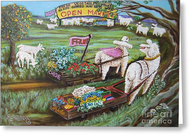 Open Market Greeting Cards - 447 Chloe Goes to Market Greeting Card by Sigrid Tune
