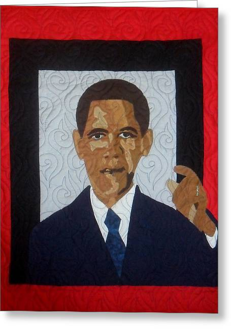 Aisha Lumumba Tapestries - Textiles Greeting Cards - 44th President Greeting Card by Aisha Lumumba