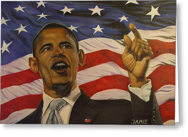 Barack Mixed Media Greeting Cards - 44th President of Change  Greeting Card by Jamie Preston