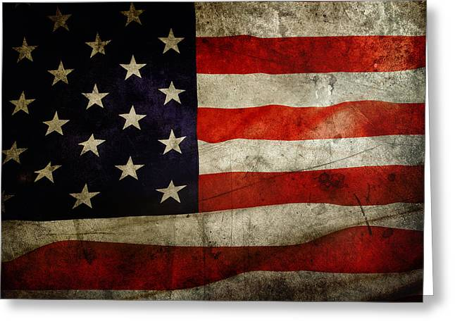 Flag Day Greeting Cards - American flag Greeting Card by Les Cunliffe