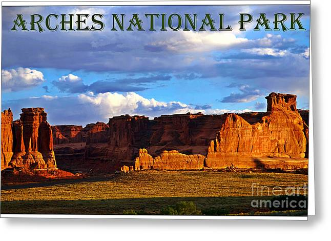 Landscape Posters Greeting Cards - Arches National Park Greeting Card by Sophie Vigneault