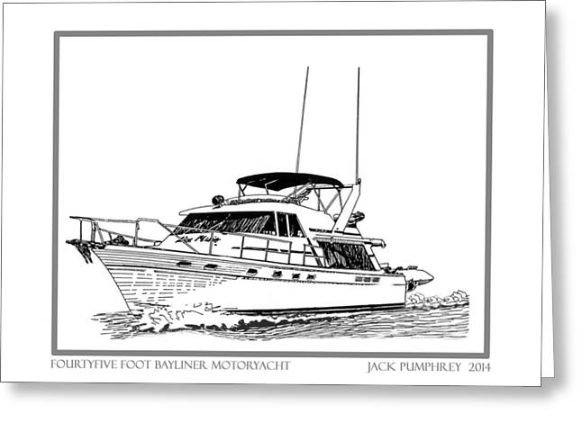 Pen And Ink Drawing Photographs Greeting Cards - 45 foot Bayliner Motoryacht Greeting Card by Jack Pumphrey