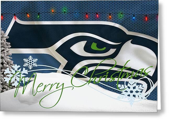 Stadium Greeting Cards - Seattle Seahawks Greeting Card by Joe Hamilton