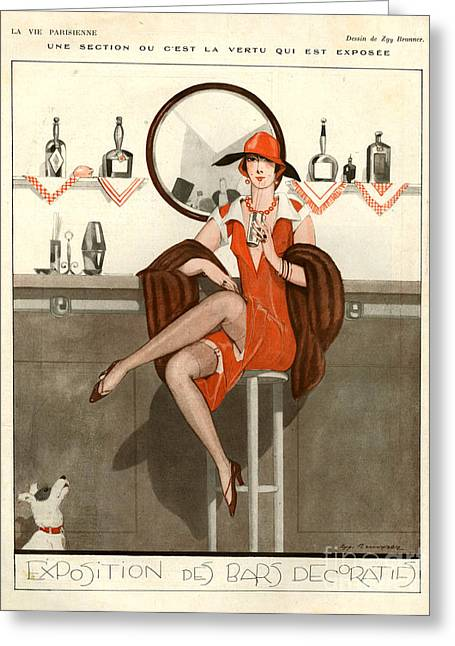 Women Drinking Greeting Cards - 1920s France La Vie Parisienne Magazine Greeting Card by The Advertising Archives