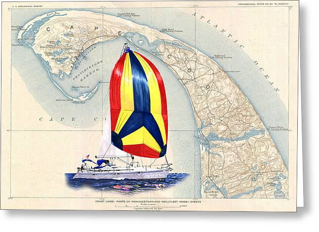 Sailboat Art Greeting Cards - 39 Beneteau Cape Cod Chart Art Greeting Card by Jack Pumphrey