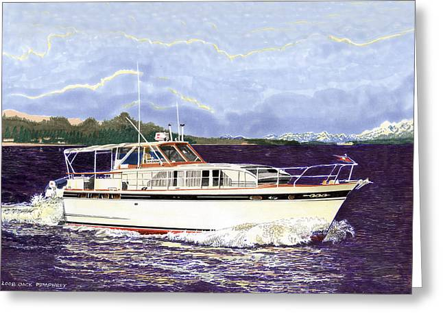 Boat Cruise Drawings Greeting Cards - 46 foot 1965 Classic Chris Craft Terific Greeting Card by Jack Pumphrey