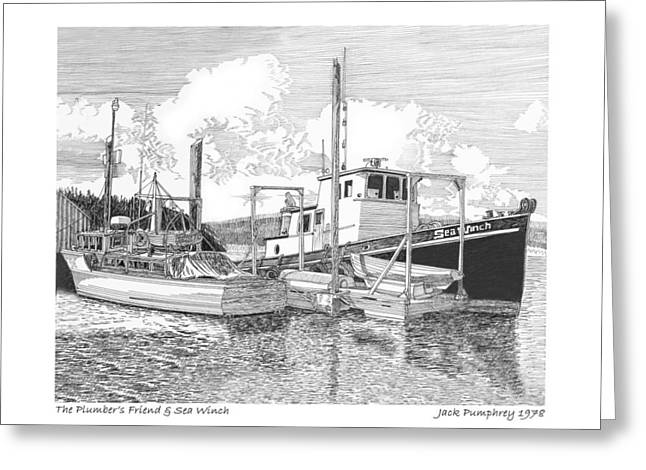 Puget Sound Drawings Greeting Cards - 46 foot Stephans Yacht and Tugboat Greeting Card by Jack Pumphrey