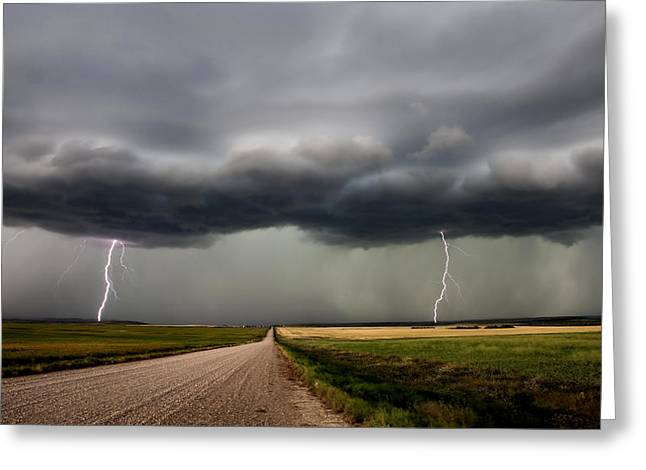 Lightning Strike Greeting Cards - Prairie Storm Clouds Greeting Card by Mark Duffy