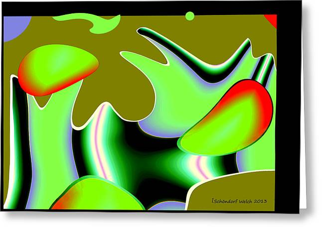 Fractal Greeting Cards Greeting Cards - 468 - Springtime coloured Gem of Abstraction Greeting Card by Irmgard Schoendorf Welch