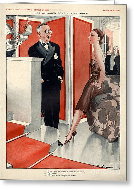 Fashion Plates Drawings Greeting Cards - 1920s France La Vie Parisienne Magazine Greeting Card by The Advertising Archives