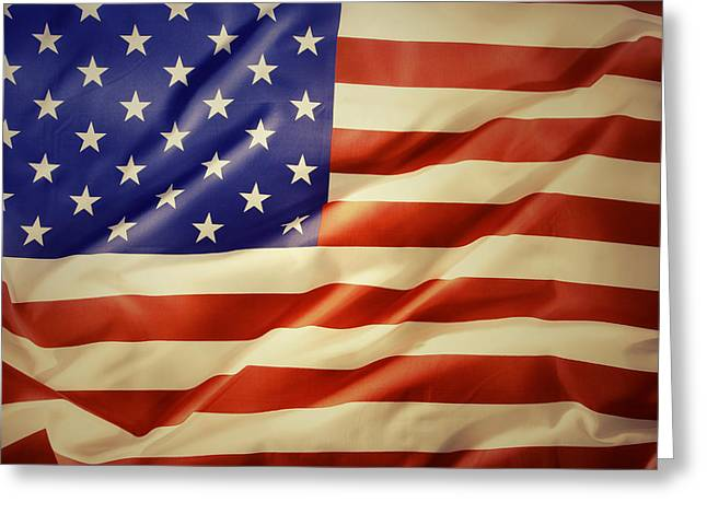 Flag Background Greeting Cards - American flag Greeting Card by Les Cunliffe