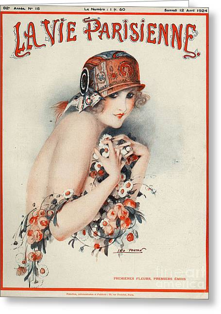 Posters Greeting Cards - La Vie Parisienne  1924 1920s France Greeting Card by The Advertising Archives