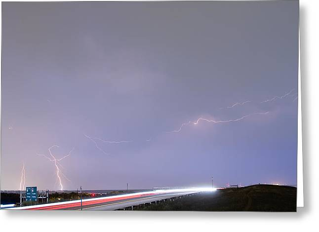 47 Street Lightning Storm Light Trails View Greeting Card by James BO  Insogna
