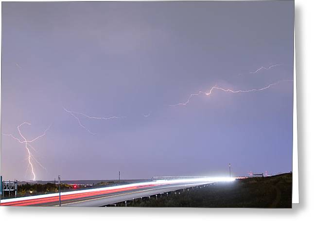 Lightning Gifts Greeting Cards - 47 Street Lightning Storm Light Trails View Panorama 1 Greeting Card by James BO  Insogna