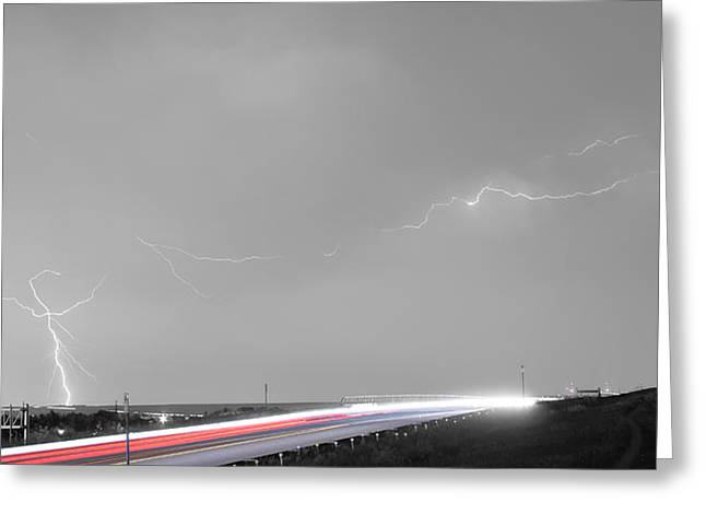 Lightning Gifts Photographs Greeting Cards - 47 Street Lightning Storm Light Trails View Panorama Greeting Card by James BO  Insogna