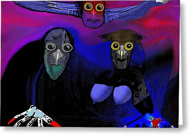 Horror Poster Greeting Cards - 476 -   Owl Family Greeting Card by Irmgard Schoendorf Welch