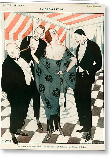 Black Tie Greeting Cards - 1920s France La Vie Parisienne Magazine Greeting Card by The Advertising Archives