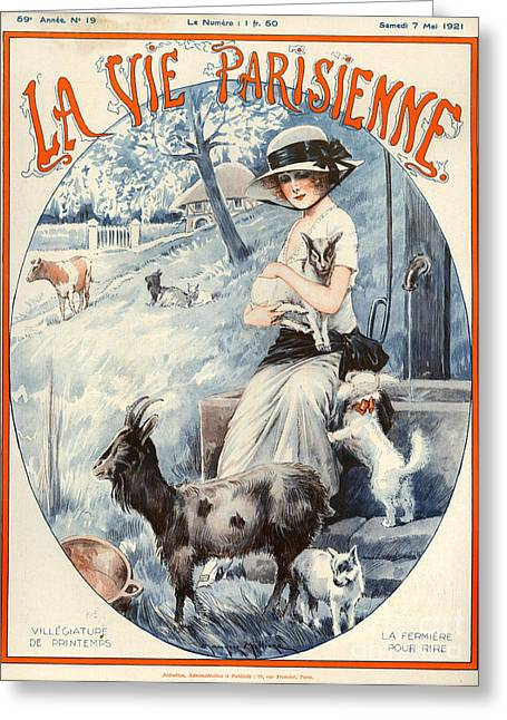 Goat Drawings Greeting Cards - 1920s France La Vie Parisienne Magazine Greeting Card by The Advertising Archives