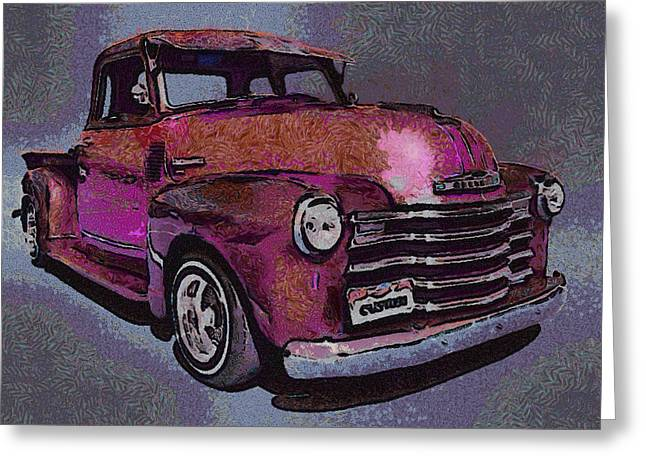 Truck Digital Greeting Cards - 48 Chevy Truck pink Greeting Card by Ernie Echols