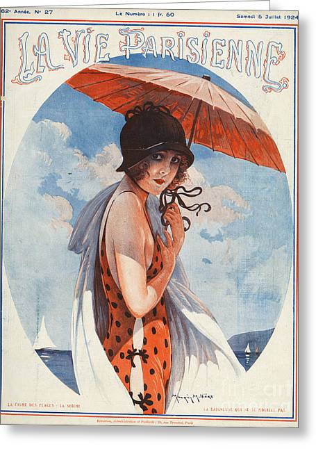 Swimsuits Swimming Costumes Greeting Cards - La Vie Parisienne  1924 1920s France Greeting Card by The Advertising Archives
