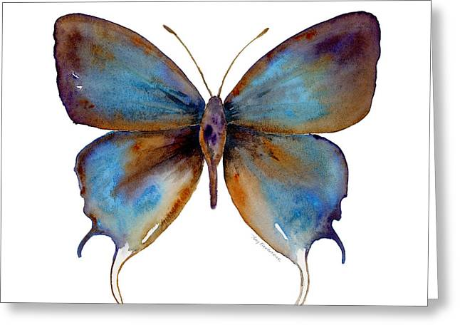 Background Paintings Greeting Cards - 48 Manto Hypoleuca Butterfly Greeting Card by Amy Kirkpatrick