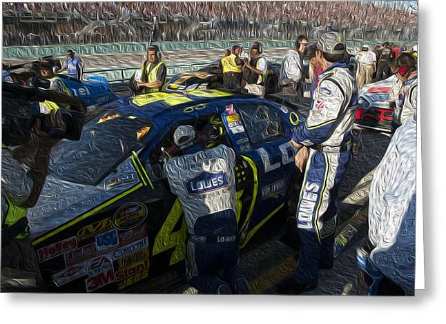 Jimmie Johnson Greeting Cards - 48 Team Greeting Card by Kevin Cable