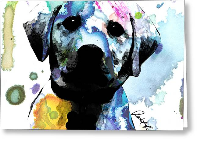 Doggy Drawings Greeting Cards - 48x44 Labrador Puppy Dog - Huge Signed Art Abstract Paintings Modern www.splashyartist.com Greeting Card by Robert R Abstract Paintings