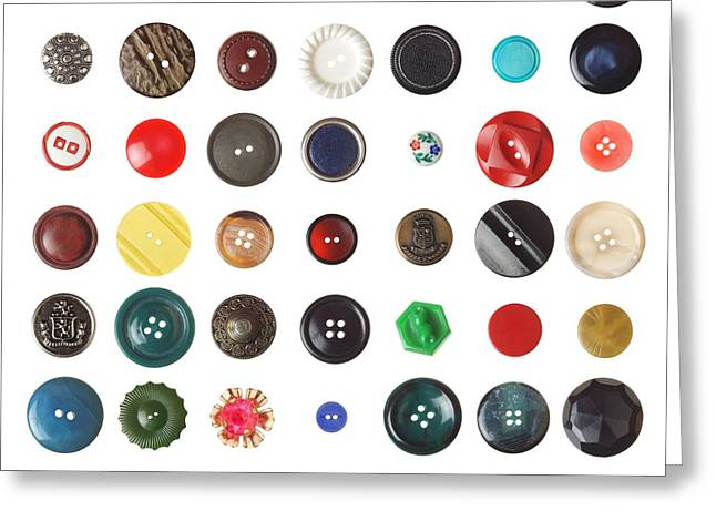 Tailor Greeting Cards - 49 Buttons Greeting Card by Jim Hughes