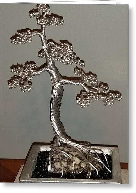 Silver Sculptures Greeting Cards - #49 Mig welding Wire Tree Sculpture Greeting Card by Ricks  Tree Art