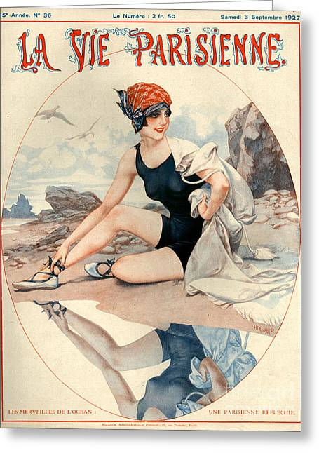 Swimwear Greeting Cards - 1920s France La Vie Parisienne Magazine Greeting Card by The Advertising Archives