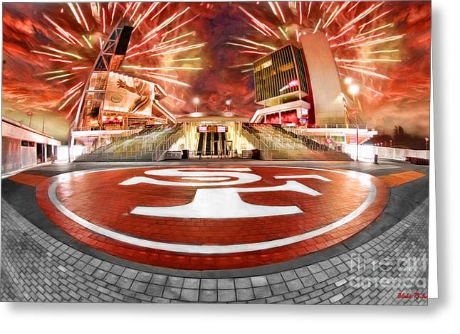 Levi Greeting Cards - 49ers Levis Stadium Fire Works Greeting Card by Blake Richards