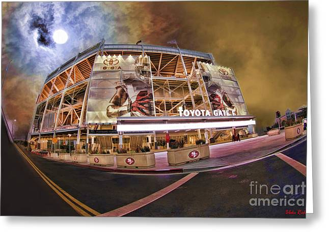 Levi Greeting Cards - 49ers Levis Stadium Orange Night Sky Greeting Card by Blake Richards