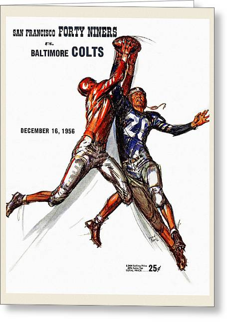 49ers Paintings Greeting Cards - 49ers vs. Colts Vintage Program Greeting Card by Big 88 Artworks