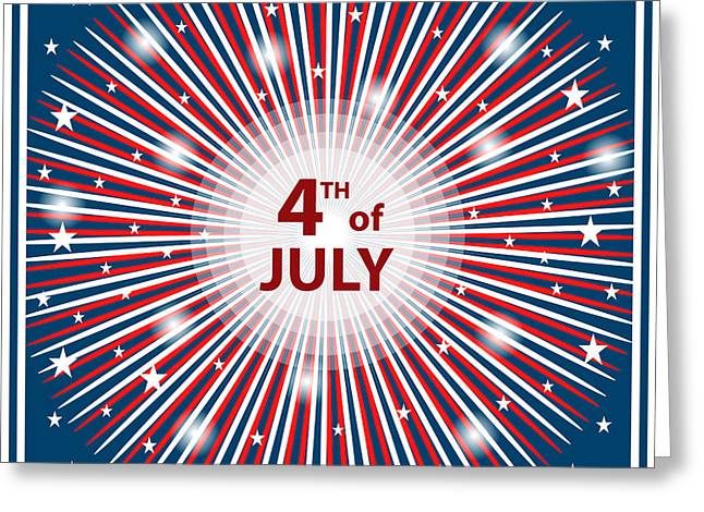 Election Day Digital Greeting Cards - 4th July independence day starburst Greeting Card by Toots Hallam