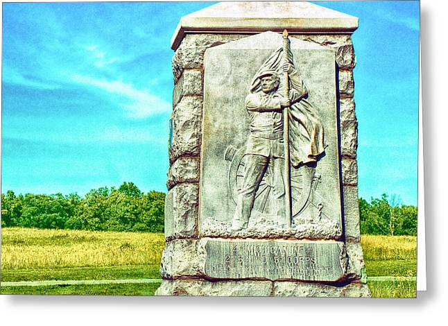 Brigade Greeting Cards - 4th Michigan Infantry Memorial Gettysburg Battleground Greeting Card by  Bob and Nadine Johnston