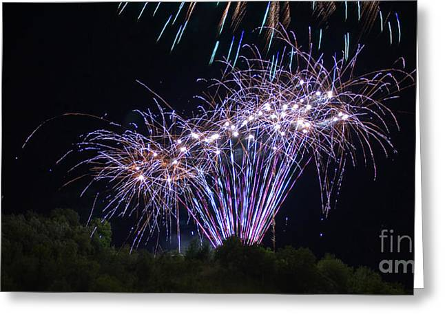 Pyrotechnics Greeting Cards - 4th of July 2014 Fireworks Bridgeport Hill Clarksburg WV 7 Greeting Card by Howard Tenke