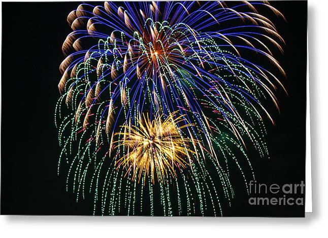 Pyrotechnics Greeting Cards - 4th of July 2014 Fireworks Mannington WV 1 Greeting Card by Howard Tenke
