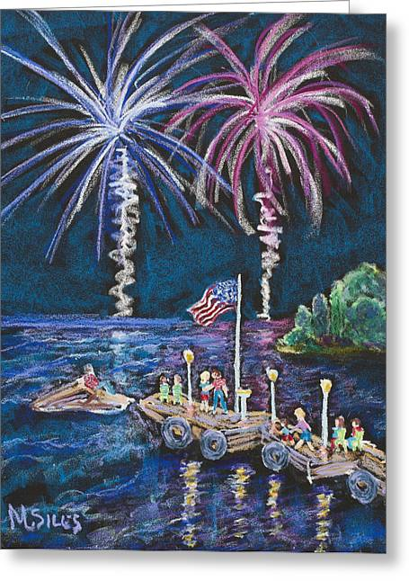 4th July Paintings Greeting Cards - 4th of July - Baileys Harbor Greeting Card by Madonna Siles